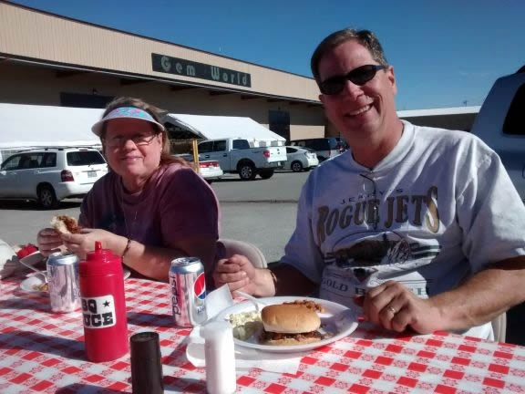 Eating BBQ in Quartzsite
