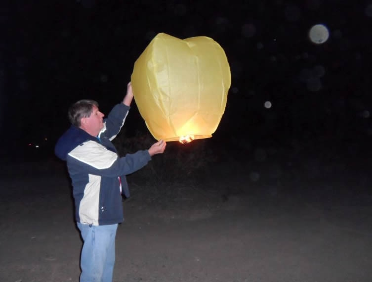 Launching hot air balloon