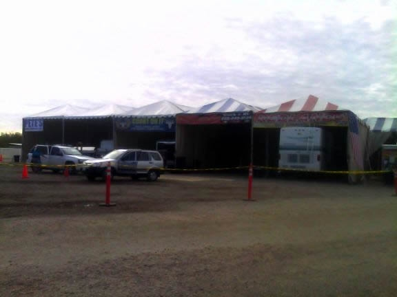 Repair shed in the Big Tent parking lot